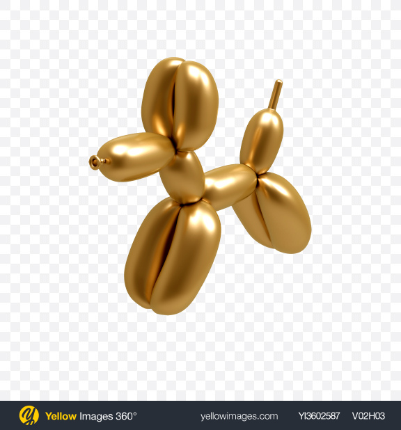 Download Golden Dog Balloon Transparent PNG on Yellow Images 360°