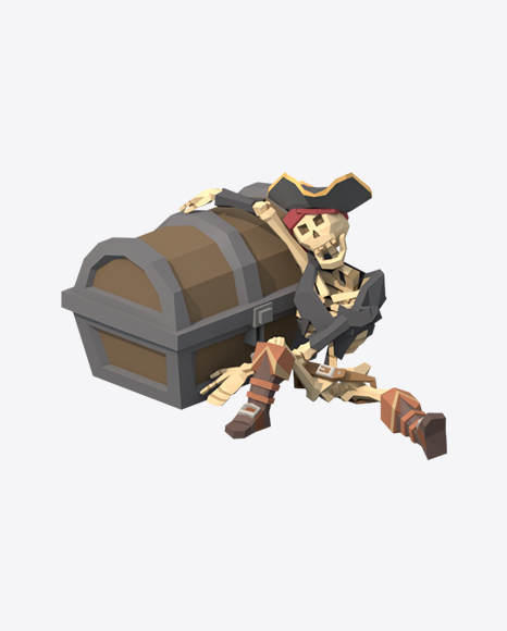 Low Poly Skeleton with Treasure Chest