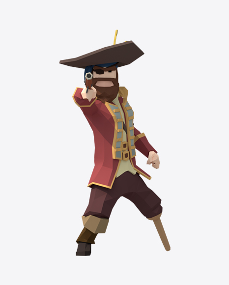 Low Poly Shooting Pirate Captain
