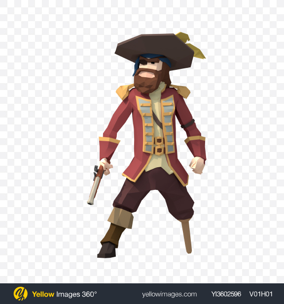 Download Low Poly Shooting Pirate Captain Transparent PNG on Yellow Images 360°
