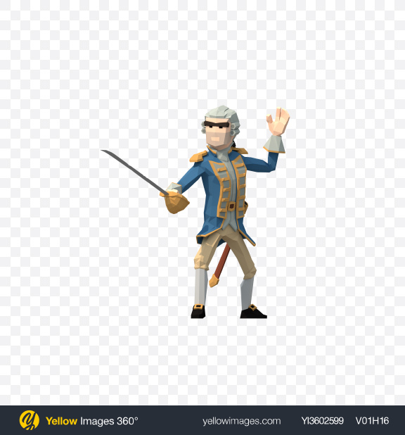 Download Low Poly Governor with Sabre Transparent PNG on Yellow Images 360°