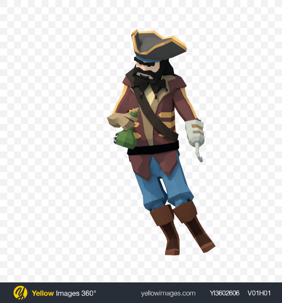 Download Low Poly Drunk Pirate Transparent PNG on Yellow Images 360°