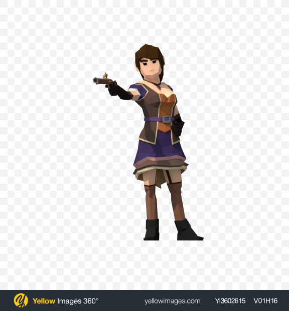 Download Low Poly Aiming Pirate Wench Transparent PNG on Yellow Images 360°