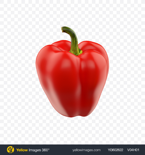 Download Red Bell Pepper Transparent PNG on Yellow Images 360°