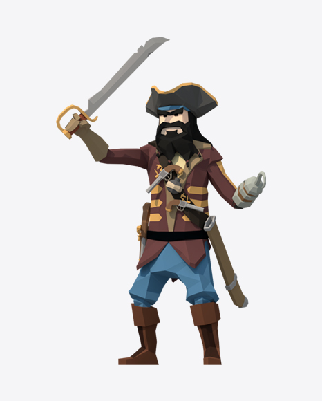 Low Poly Blackbeard Pirate