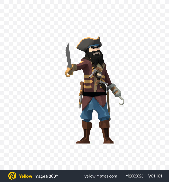 Download Low Poly Blackbeard Pirate Transparent PNG on Yellow Images 360°