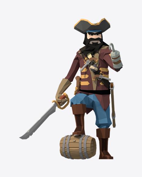 Low Poly Blackbeard Pirate