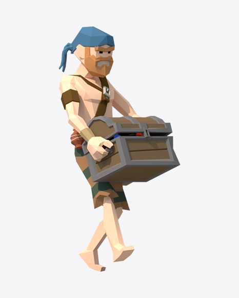 Low Poly Pirate with Treasure Chest