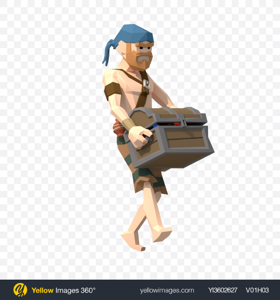 Download Low Poly Pirate with Treasure Chest Transparent PNG on Yellow Images 360°