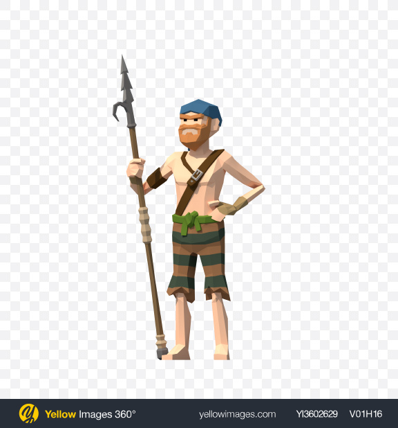 Download Low Poly Pirate with Spear Transparent PNG on Yellow Images 360°