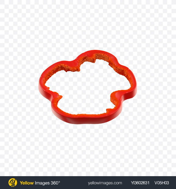 Download Red Bell Pepper Slice Transparent PNG on Yellow Images 360°