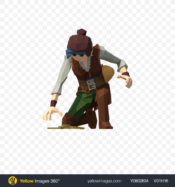 Download Low Poly Pirate Lady Transparent PNG on Yellow Images 360°