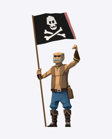 Low Poly Pirate with Flag
