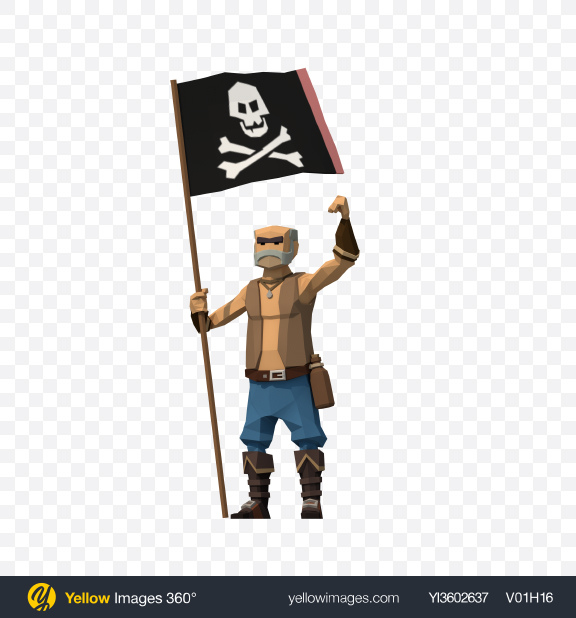 Download Low Poly Pirate with Flag Transparent PNG on Yellow Images 360°