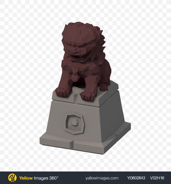 Download Low Poly Statue Transparent PNG on Yellow Images 360°