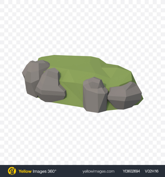 Download Low Poly Stone Hill Transparent PNG on Yellow Images 360°