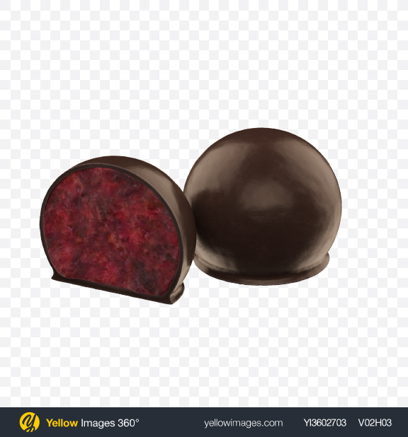 Download Cranberry with Honey in Dark Chocolate Transparent PNG on Yellow Images 360°