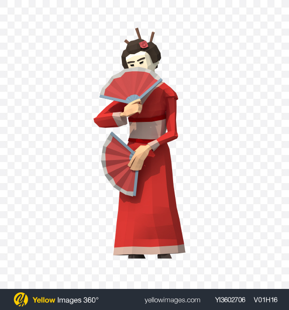 Download Low Poly Geisha with Fans Transparent PNG on Yellow Images 360°