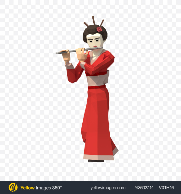 Download Low Poly Geisha with Flute Transparent PNG on Yellow Images 360°