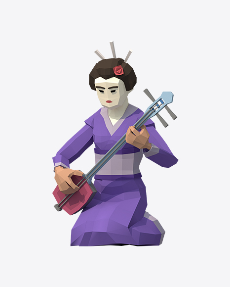 Low Poly Geisha with Shamisen