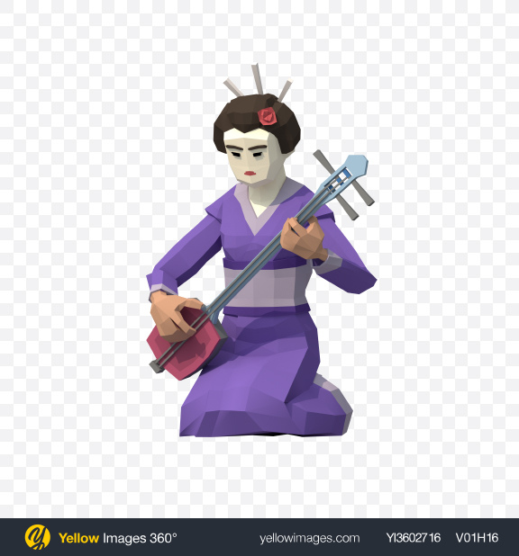 Download Low Poly Geisha with Shamisen Transparent PNG on Yellow Images 360°