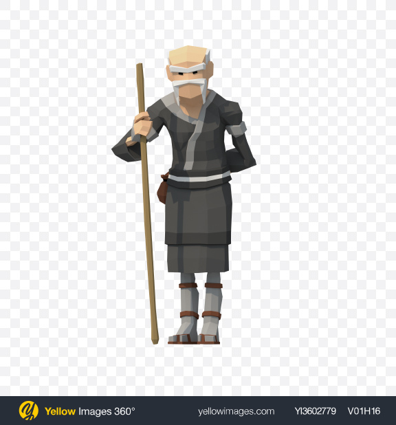 Download Low Poly Sensei with Bo Transparent PNG on Yellow Images 360°