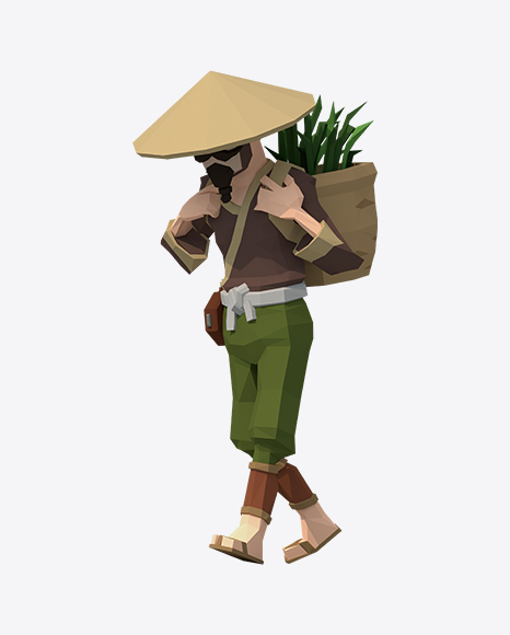 Low Poly Walking Rice Farmer