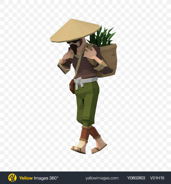 Download Low Poly Walking Rice Farmer Transparent PNG on Yellow Images 360°