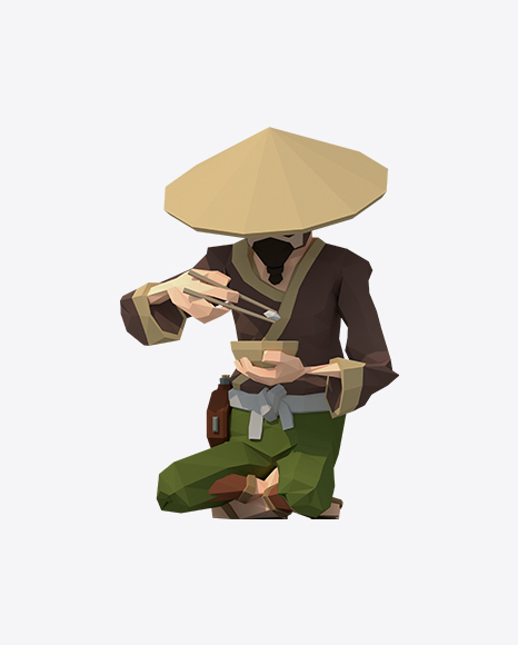 Low Poly Sitting Farmer