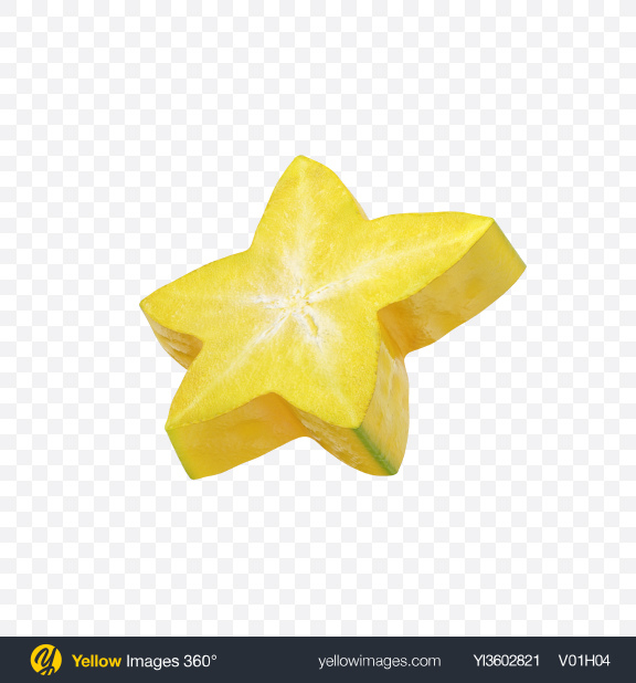Download Star Fruit Slice Transparent PNG on Yellow Images 360°