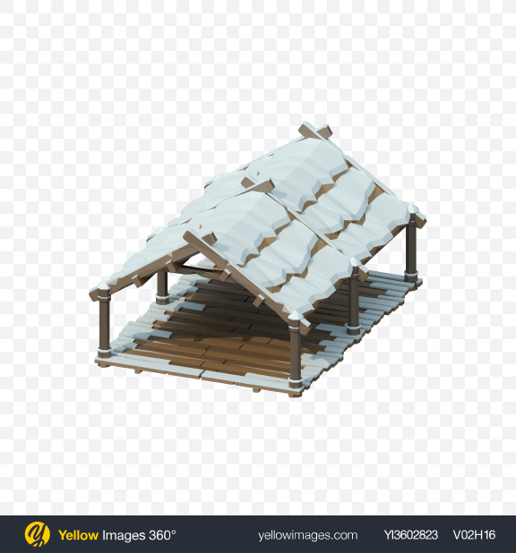 Download Low Poly Snow Covered Wooden Canopy Transparent PNG on Yellow Images 360°