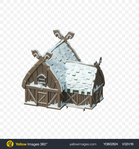 Download Low Poly Snow Covered Log House Transparent PNG on Yellow Images 360°