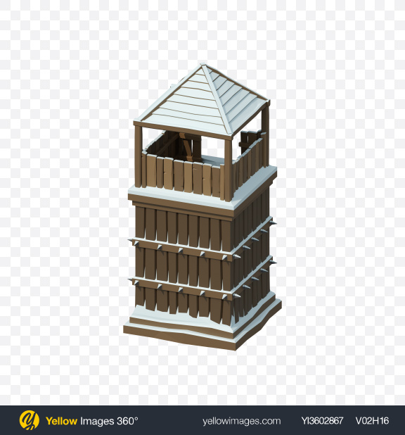 Download Low Poly Snow Covered Watch Tower Transparent PNG on Yellow Images 360°