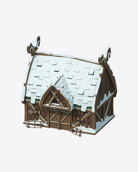 Low Poly Snow Covered Log House