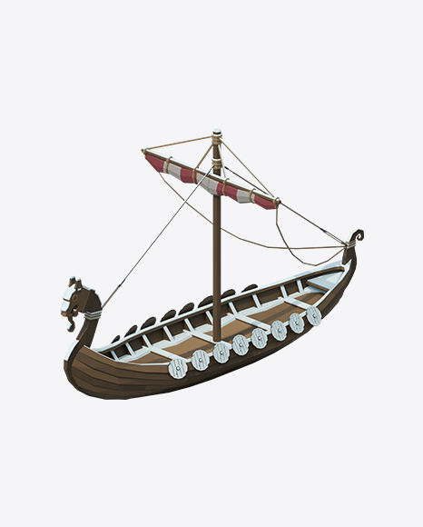 Low Poly Snow Covered Viking Ship
