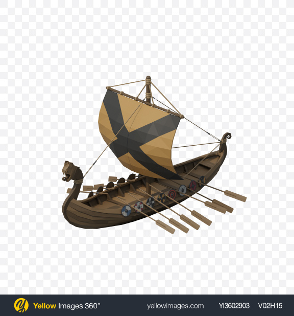 Download Low Poly Snow Covered Viking Ship Transparent PNG on Yellow Images 360°