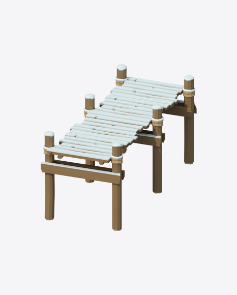 Low Poly Snow Covered Wooden Platform
