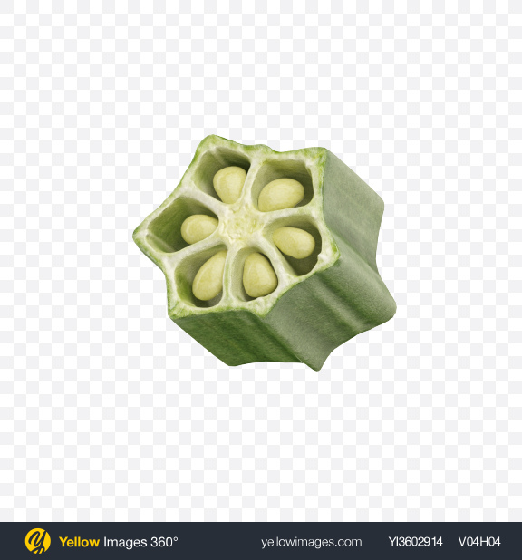 Download Okra Slice Transparent PNG on Yellow Images 360°