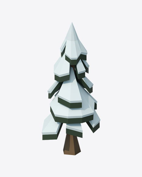 PNG Low Poly Snow Covered Fir