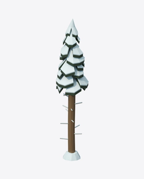 Low Poly Snow Covered Tall Fir