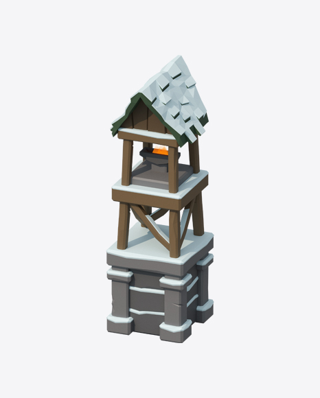 Low Poly Snow Covered Tower