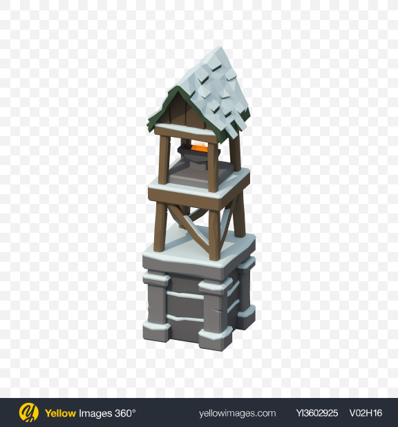 Download Low Poly Snow Covered Tower Transparent PNG on YELLOW Images