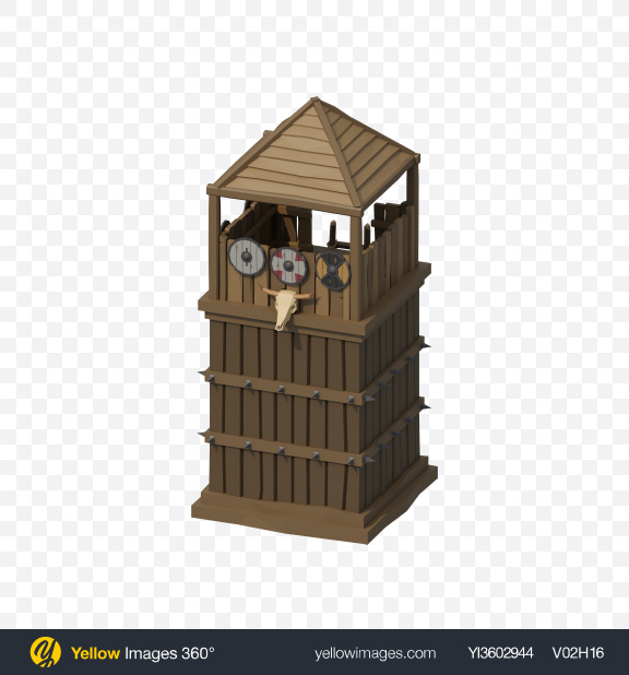 Download Low Poly Watch Tower Transparent PNG on Yellow Images 360°