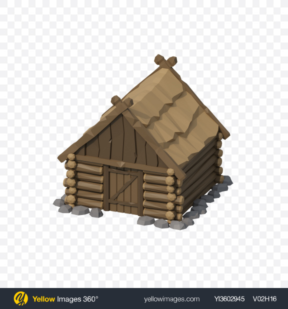 Download Low Poly Log House Transparent PNG on Yellow Images 360°