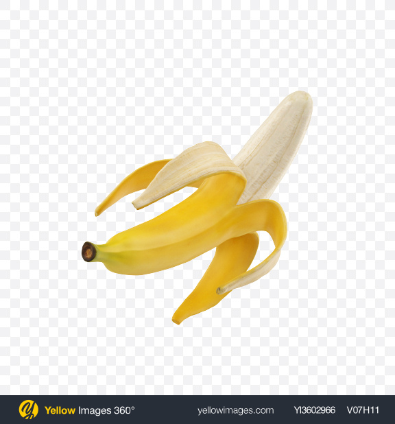 Download Half Peeled Banana Transparent PNG on Yellow Images 360°