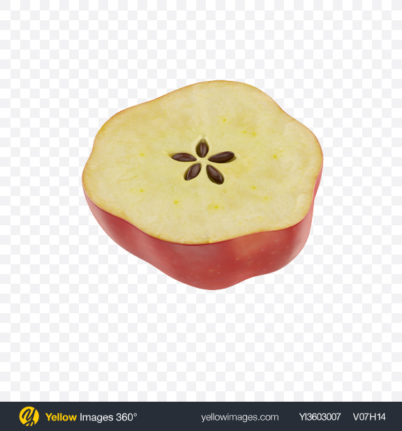 Download Half of Red Apple Transparent PNG on Yellow Images 360°