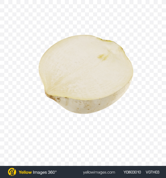 Download Half of White Radish Transparent PNG on Yellow Images 360°