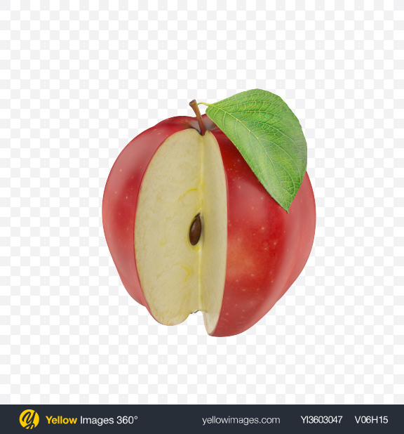 Download Red apple cut Transparent PNG on Yellow Images 360°