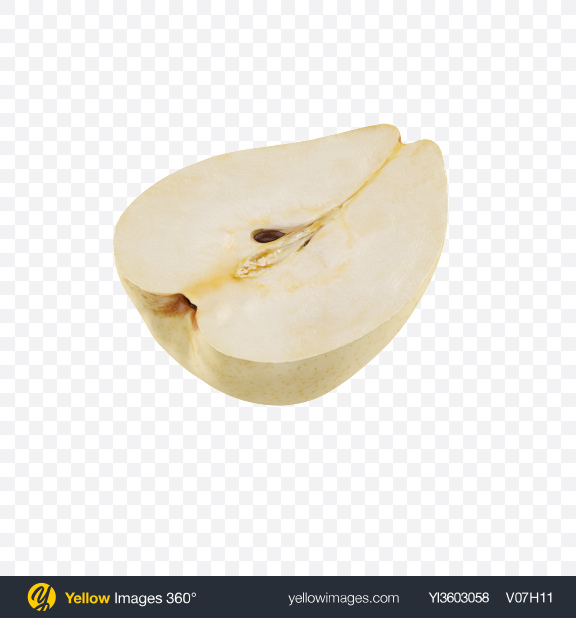 Download Half of White Pear Transparent PNG on Yellow Images 360°