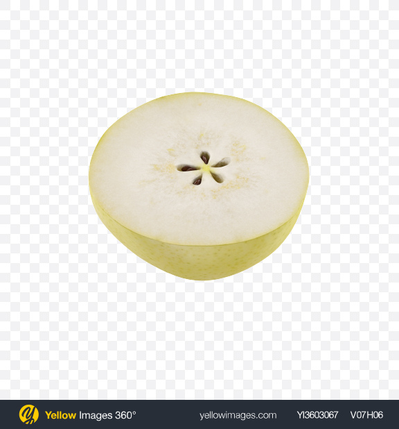 Download Half of Green Pear Transparent PNG on Yellow Images 360°